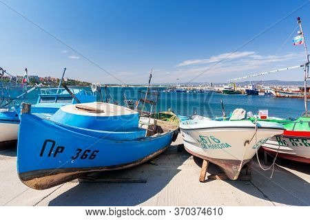 Nessebar, Bulgaria - Sep 02, 2019: Boats In Harbor Of An Old Town. Popular Travel Destination. Wonde