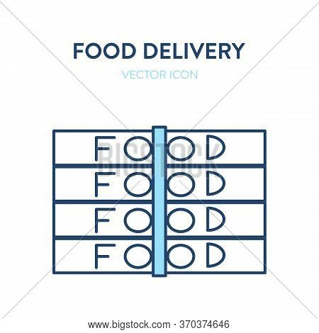 Food Delivery Icon. Vector Simple Illustration Of Stack Of Boxes With Food. Represents A Concept Of