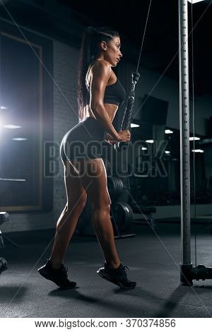 Side View Of Young Fitness Woman In Sportswear With Long Black Hair Training Triceps. Attractive Ath
