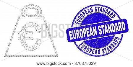 Web Mesh Euro Mass Icon And European Standard Seal. Blue Vector Round Grunge Seal With European Stan