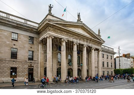 Dublin, Ireland - July 1, 2019: Street Of Dublin, Famous Tourist Attraction In Ireland, Irish Capita