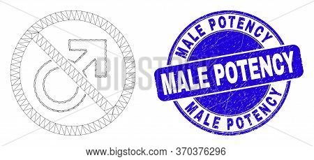 Web Carcass Forbidden Male Symbol Pictogram And Male Potency Stamp. Blue Vector Round Grunge Seal St