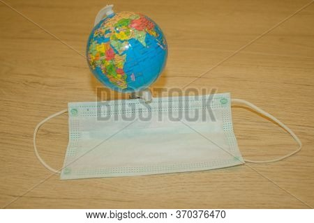 Corona Virus Global Pandemia Threat. Pattern Of Medical Masks. Pandemia Of Coronavirus Infection.
