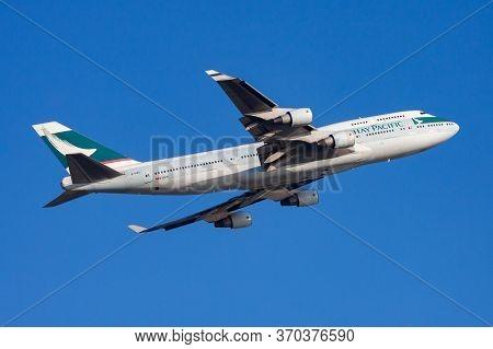 Hong Kong / China - December 1, 2013: Cathay Pacific Airways Boeing 747-400 B-hke Passenger Plane De