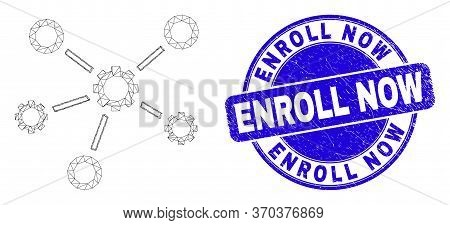 Web Mesh Gear Links Pictogram And Enroll Now Seal Stamp. Blue Vector Round Scratched Stamp With Enro