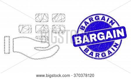 Web Carcass Hand Offer Bricks Pictogram And Bargain Seal Stamp. Blue Vector Rounded Textured Seal St