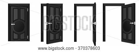 Closed And Open Black Door Set Isolated On White Background. Home Entrance And Exit Design Element.