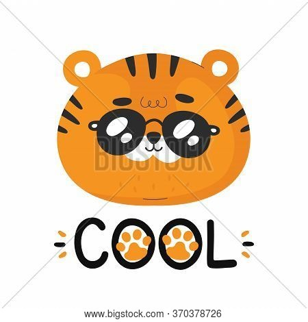 Cute Funny Little Tiger. Vector Cartoon Character Illustration Icon Design.isolated On White Backgro