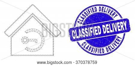 Web Mesh Home Keyhole Pictogram And Classified Delivery Seal. Blue Vector Round Grunge Seal Stamp Wi
