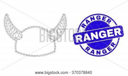 Web Mesh Horned Helmet Icon And Ranger Seal Stamp. Blue Vector Rounded Grunge Seal With Ranger Phras