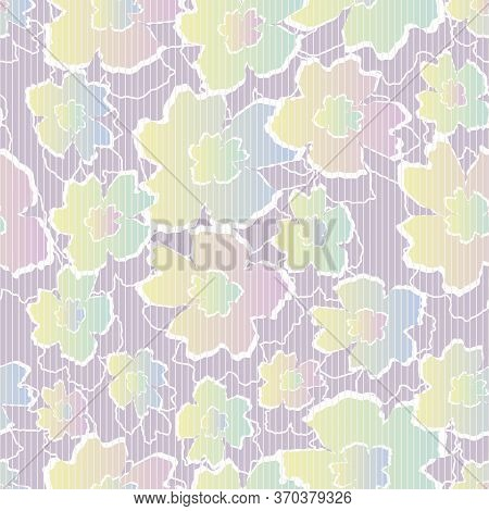 Rainbow Ombre Paper Cut Floral Seamless Vector Pattern. Light Girly Surface Print Design. Great For