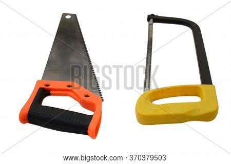 Metal Saw On A White Background, Orange And Black Hilt. Hacksaw With Rust, Yellow Hilt. Selective Fo
