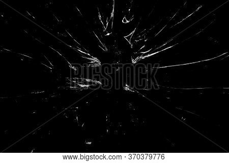 Broken Glass Background In Black. Black Minimalist Background With Cracks On The Glass. Abstract Bla
