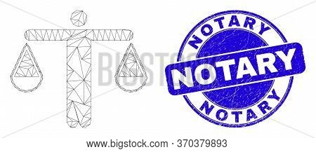 Web Carcass Judge Pictogram And Notary Watermark. Blue Vector Rounded Textured Watermark With Notary