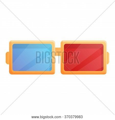 3d Cinema Eyeglasses Icon. Cartoon Of 3d Cinema Eyeglasses Vector Icon For Web Design Isolated On Wh