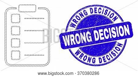 Web Carcass List Items Pad Icon And Wrong Decision Seal Stamp. Blue Vector Rounded Scratched Stamp W