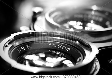 Vintage Twin Reflex Camera Lens With Shallow Depth Of Field In Black And White. Retro Style Medium F