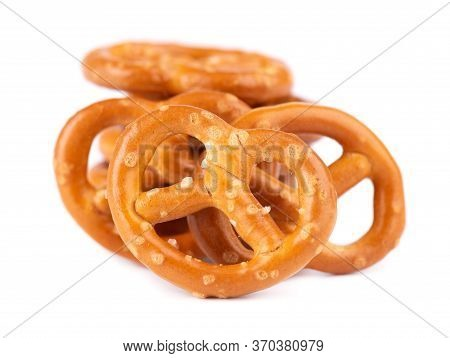 Bretzels Cracker Isolated On White Background. Dry Cracker Cookies Isolated. Salty Snacks Isolated.
