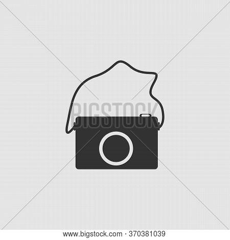 Camera Icon Flat. Black Pictogram On Grey Background. Vector Illustration Symbol