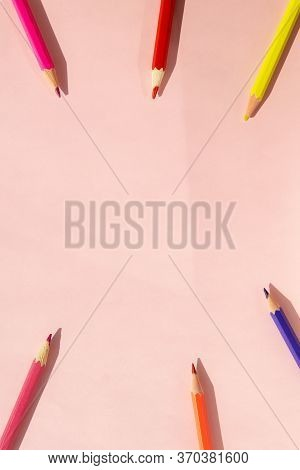 Background Of Colorful Pencils On Pink Background. Back To School, Education And Learning Concept. M