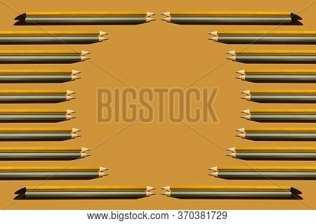 Frame Of Trendy Gold And Silver Pencils On Gold Background. Back To School, Education And Learning C
