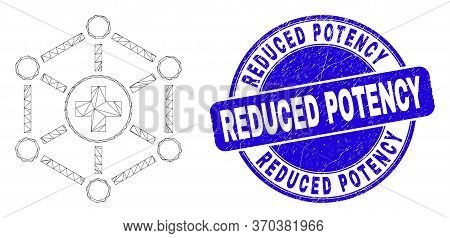 Web Carcass Medical Links Pictogram And Reduced Potency Seal. Blue Vector Rounded Scratched Seal Wit
