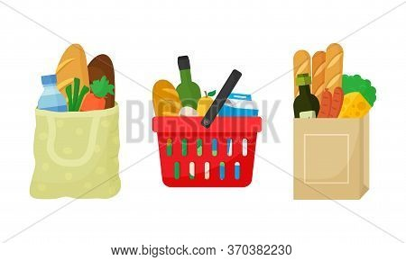 Grocery Purchase Set. Textile Bag, Shopping Basket And Paper Package With Products. Foods And Drinks