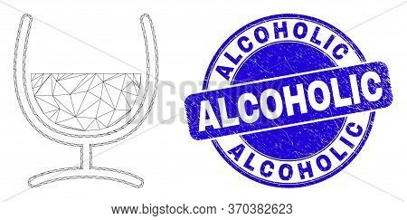 Web Carcass Mixture Glass Icon And Alcoholic Stamp. Blue Vector Rounded Textured Seal With Alcoholic