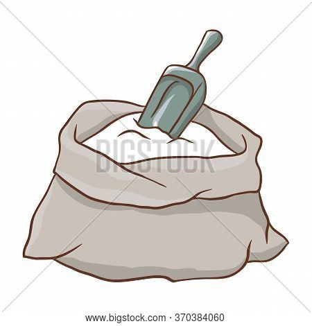Illustration Of Flour Sack With Scoop. Bakery Shop Item.
