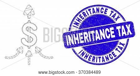 Web Mesh Payment Aggregator Icon And Inheritance Tax Stamp. Blue Vector Rounded Textured Stamp With