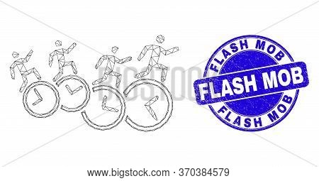 Web Mesh People Run Over Clocks Icon And Flash Mob Seal. Blue Vector Round Textured Seal With Flash