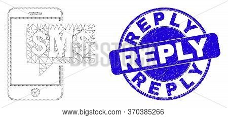 Web Mesh Phone Sms Cloud Pictogram And Reply Seal Stamp. Blue Vector Round Scratched Seal Stamp With