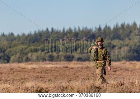 Ede, Netherlands, September 19, 2019: Paratroopers Junps Ginkel Heath 75 Years Remembrance Of Operat