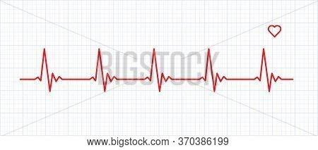 Heart Rate Graphics. Vector Illustration.. Electrocardiogram. Heartbeat Cardiogram Icon Vector Logo