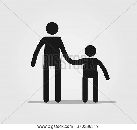 Man With Child Icon. Adault With Kid Vector Pictogram. Concept Of Parents With Children, Children Wi