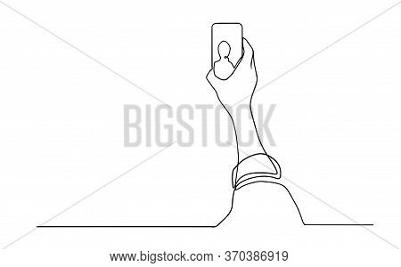 Person Selfie One Line Drawing. Man Taking A Picture With Smartphone Or Mobile Phone Camera. Continu