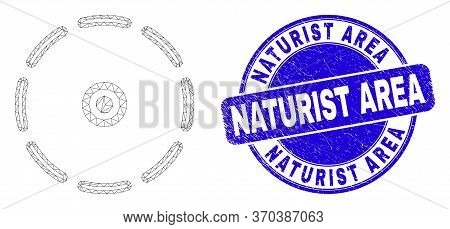 Web Carcass Round Perimeter Pictogram And Naturist Area Seal Stamp. Blue Vector Round Grunge Stamp W
