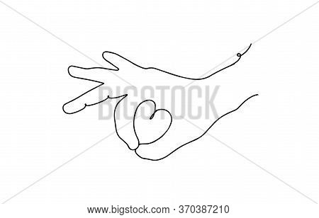 Continuous Line Of Hand Drawing Showing A Sign Of Love. Ok Gesture Continuous Line. Hand With Heart.