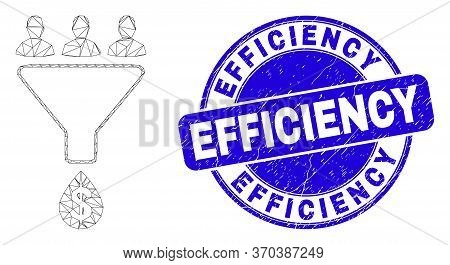 Web Mesh Sales Funnel Pictogram And Efficiency Stamp. Blue Vector Rounded Distress Seal Stamp With E