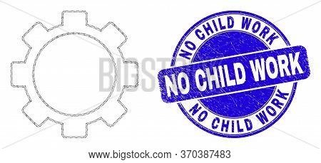 Web Mesh Setup Tools Icon And No Child Work Seal. Blue Vector Rounded Distress Seal With No Child Wo