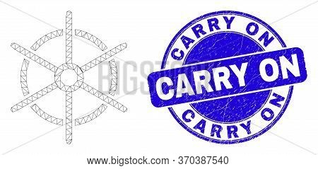 Web Mesh Ship Rule Wheel Pictogram And Carry On Seal Stamp. Blue Vector Round Distress Stamp With Ca