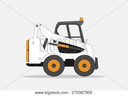 Excavator Icon Vector Illustration. A Vector Graphic For A Skid Sterr Loader Vehicle. Small Tractor
