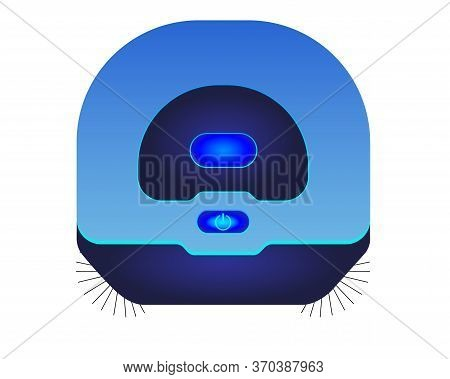 Blue Robot Vacuum Cleaner - Top View - Vector Full Color Picture. Robotic, Standalone Cordless Vacuu
