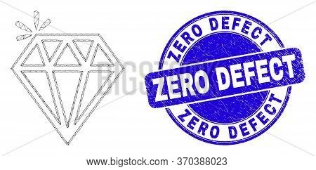 Web Carcass Spark Brilliant Icon And Zero Defect Seal. Blue Vector Rounded Distress Stamp With Zero