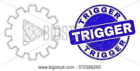 Web Mesh Start Gear Automation Pictogram And Trigger Seal. Blue Vector Round Grunge Seal Stamp With