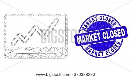 Web Carcass Stocks Chart Icon And Market Closed Stamp. Blue Vector Round Grunge Seal With Market Clo