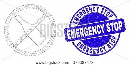 Web Mesh Stop Drinking Pictogram And Emergency Stop Seal Stamp. Blue Vector Round Textured Seal Stam