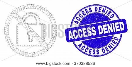 Web Carcass Stop Lock Pictogram And Access Denied Seal Stamp. Blue Vector Rounded Distress Seal Stam