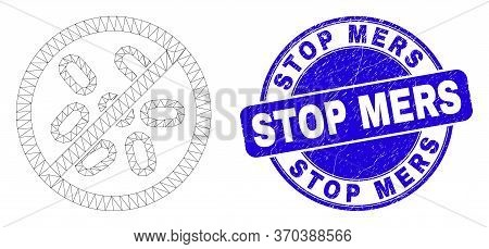 Web Carcass Stop Microbes Icon And Stop Mers Seal. Blue Vector Round Distress Seal With Stop Mers Ti