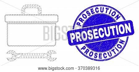 Web Mesh Toolbox Wrench Pictogram And Prosecution Seal. Blue Vector Round Textured Stamp With Prosec